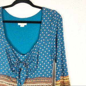 Anthropologie Maeve Blue Boho Tie Long Sleeve Maxi